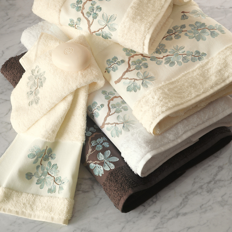Blue Floral Embroidered Towels