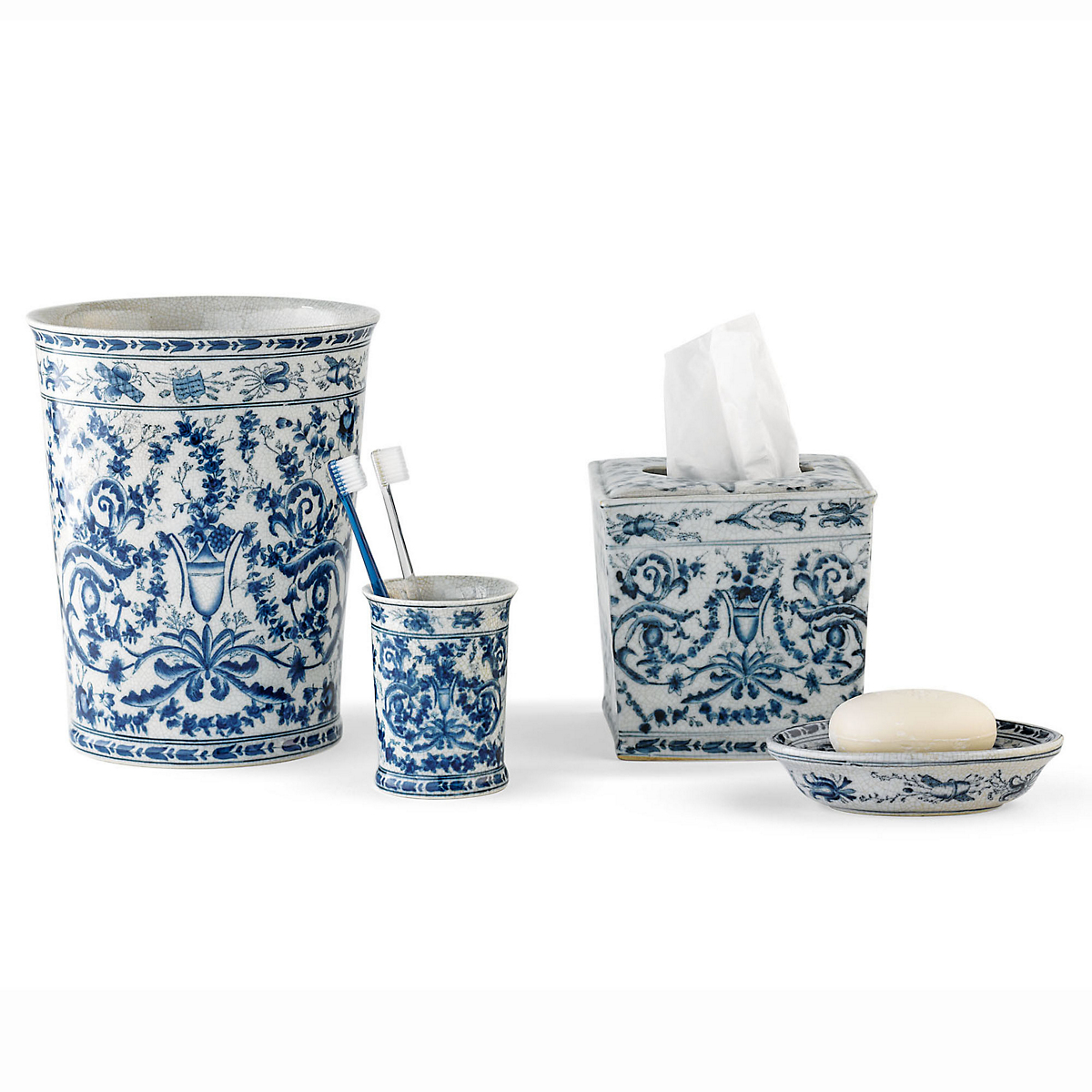 blue white bath accessories - White Bathroom Accessories Ceramic