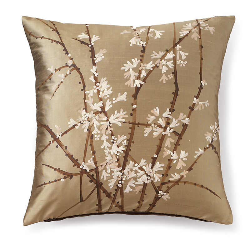 Handpainted Silk Cherry Blossom Pillow