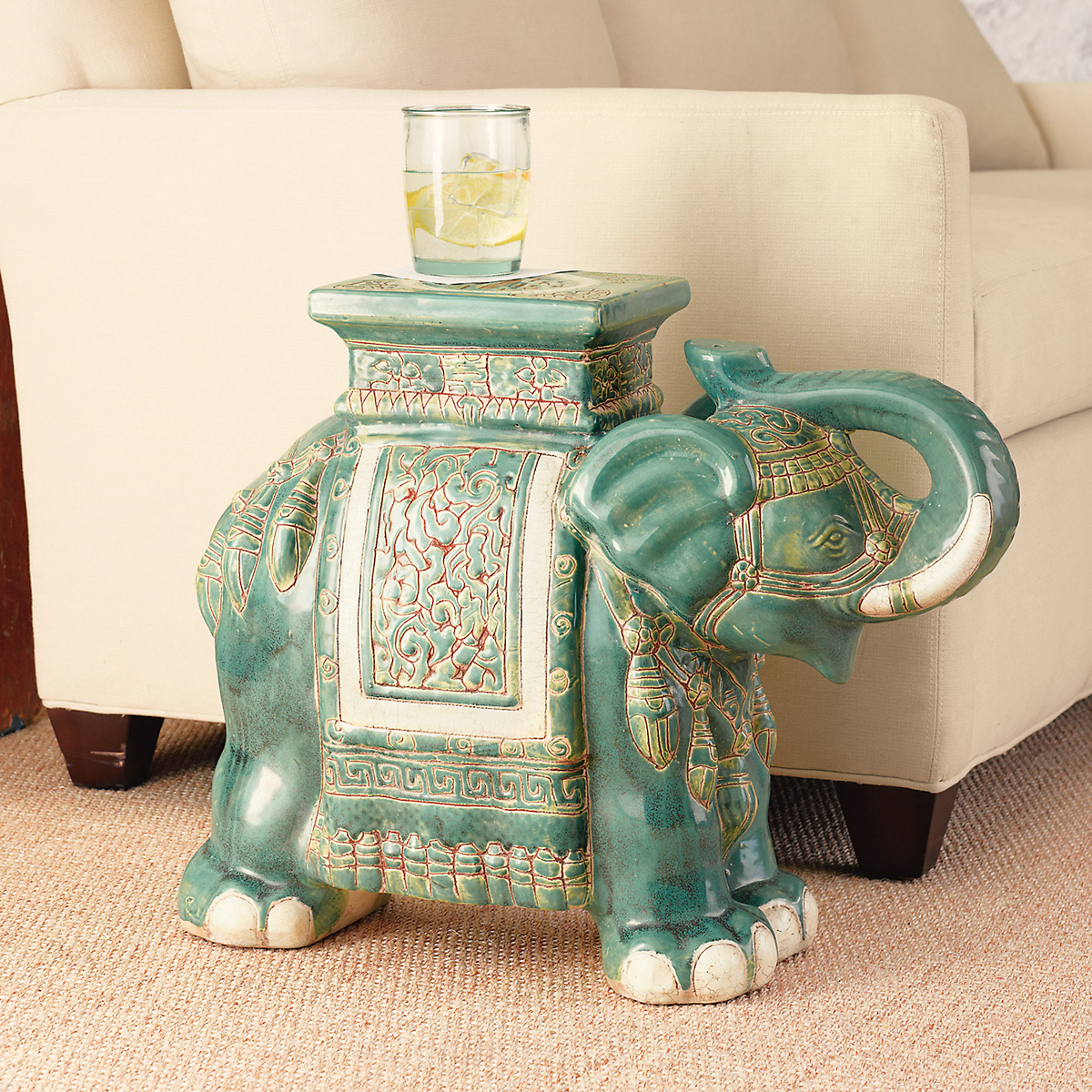 Delightful Elephant Green Garden Stool