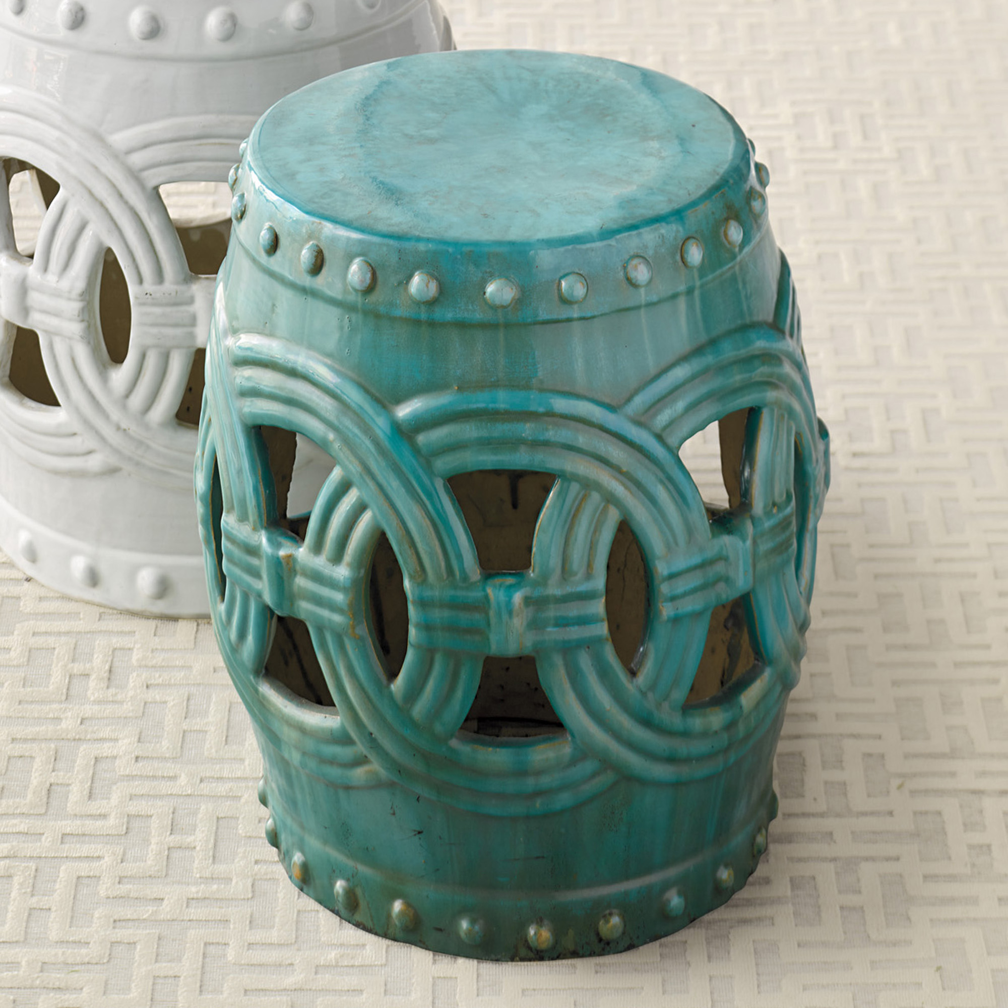 "Linking Rings Garden Stool, Turquoise 18""H"