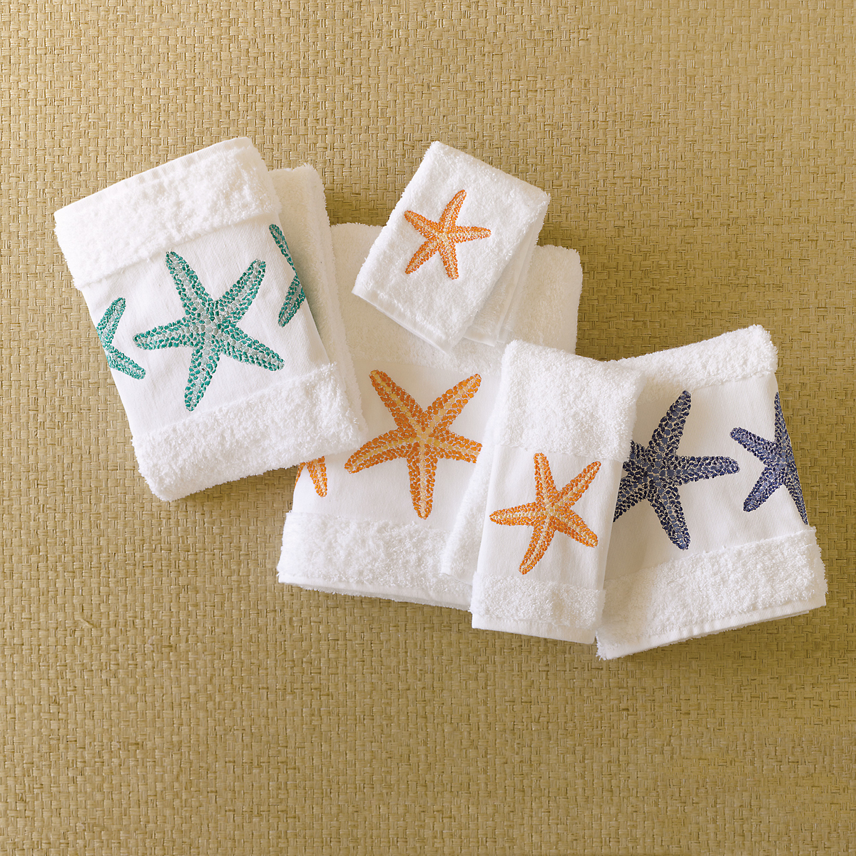 Embroidered Starfish Towels