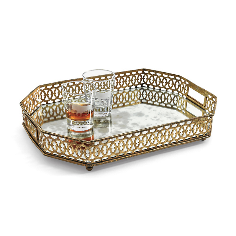 Antiqued Mirrored Tray, Gold