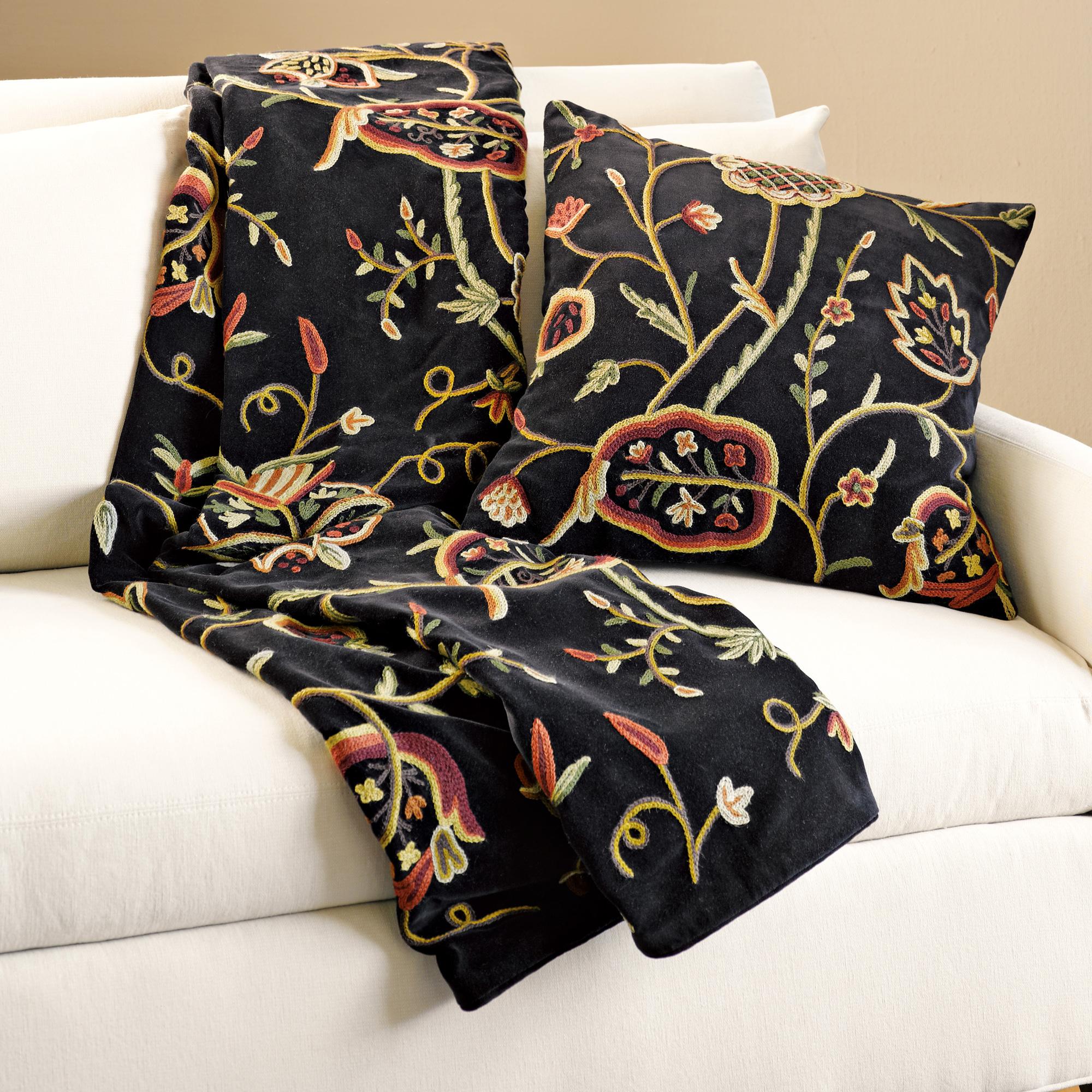 Throw Pillows Home : Botanical Crewel Throw & Pillow Gump s