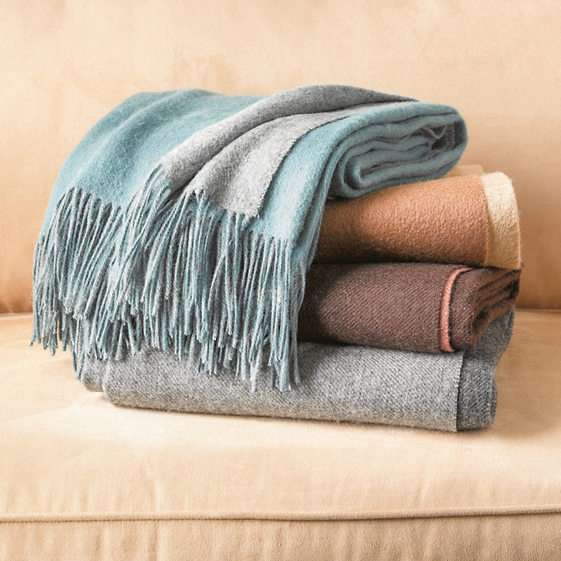 Two-Tone Wool Cashmere Throw