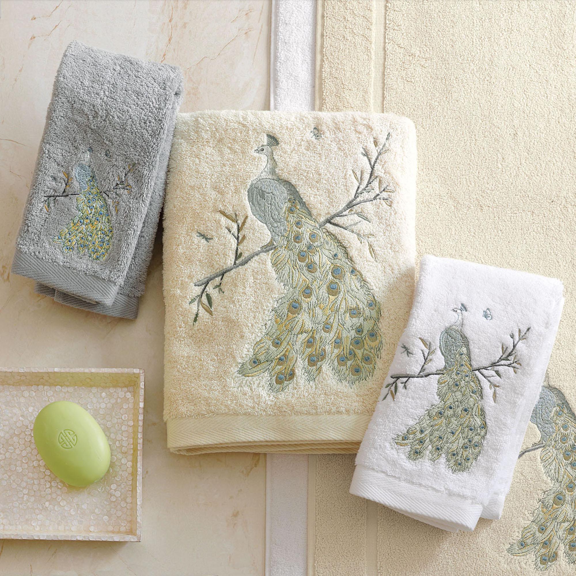 peacock embroidered towels gump 39 s. Black Bedroom Furniture Sets. Home Design Ideas