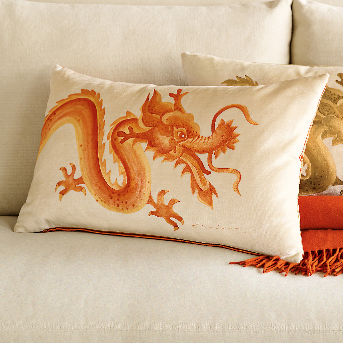 Dragon Pillow, Orange