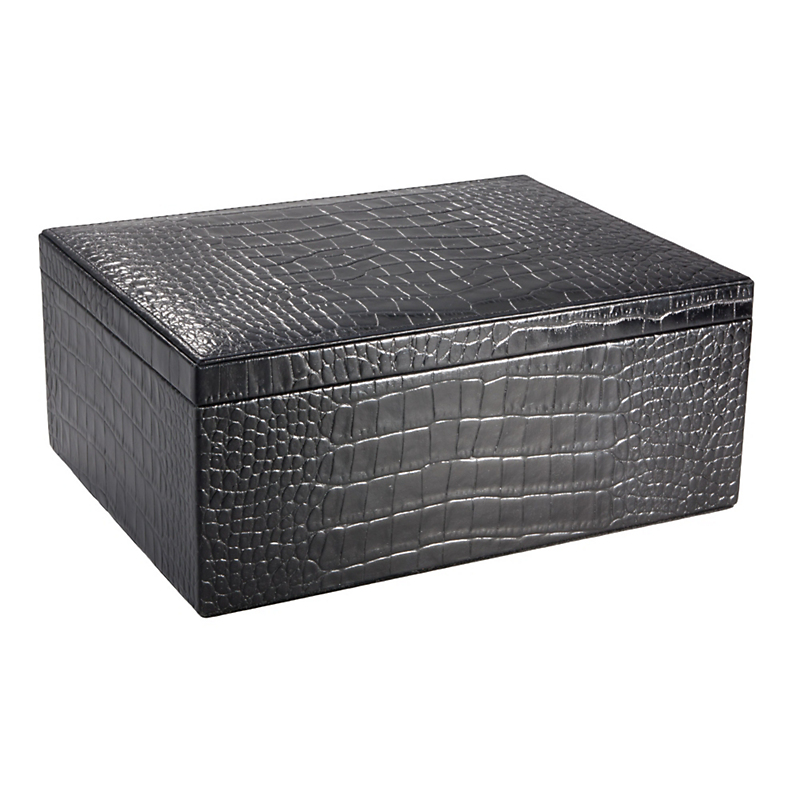 Graphic Image Croc Embossed Leather Desk Box, Large