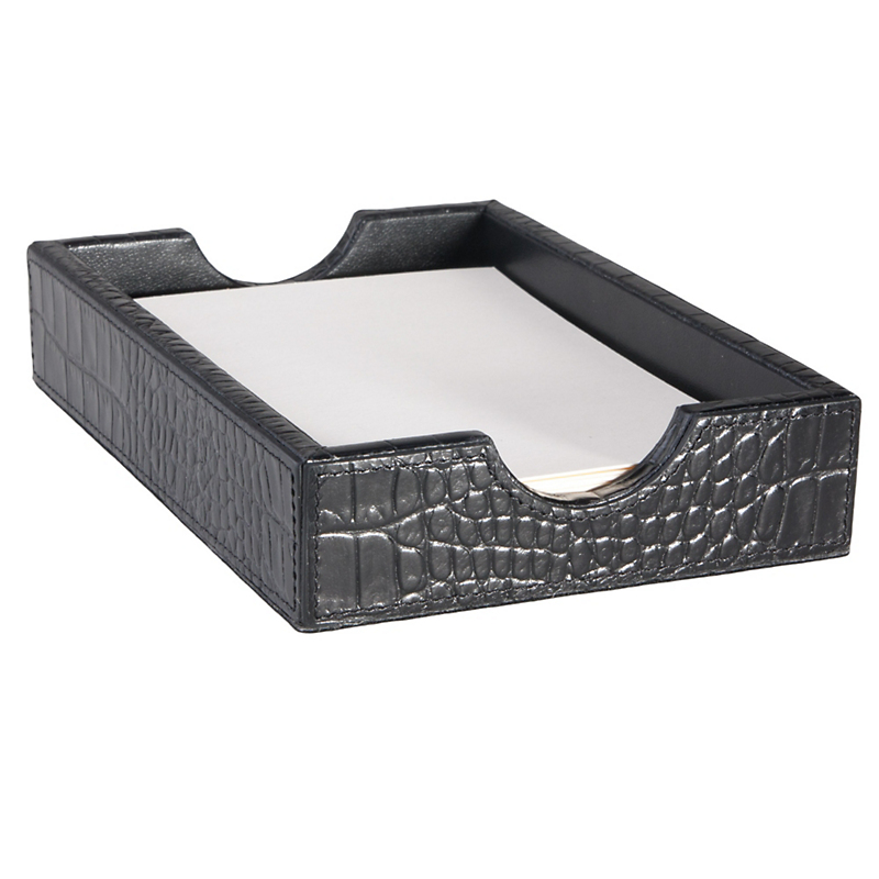 Graphic Image Croc Embossed Leather Paper Tray