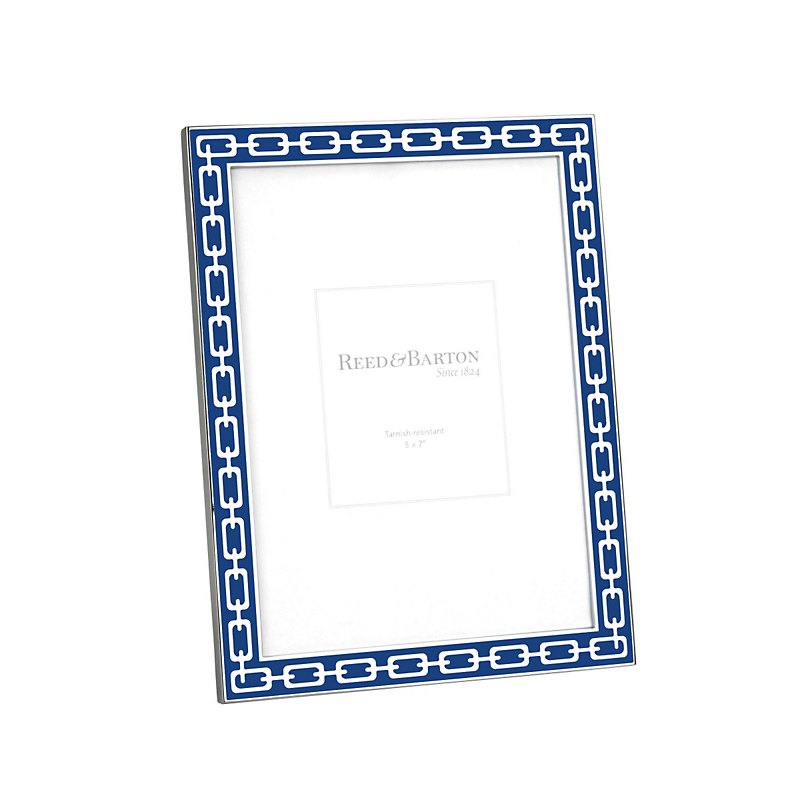 Reed & Barton Navy Silver Link Frame, 5 x 7