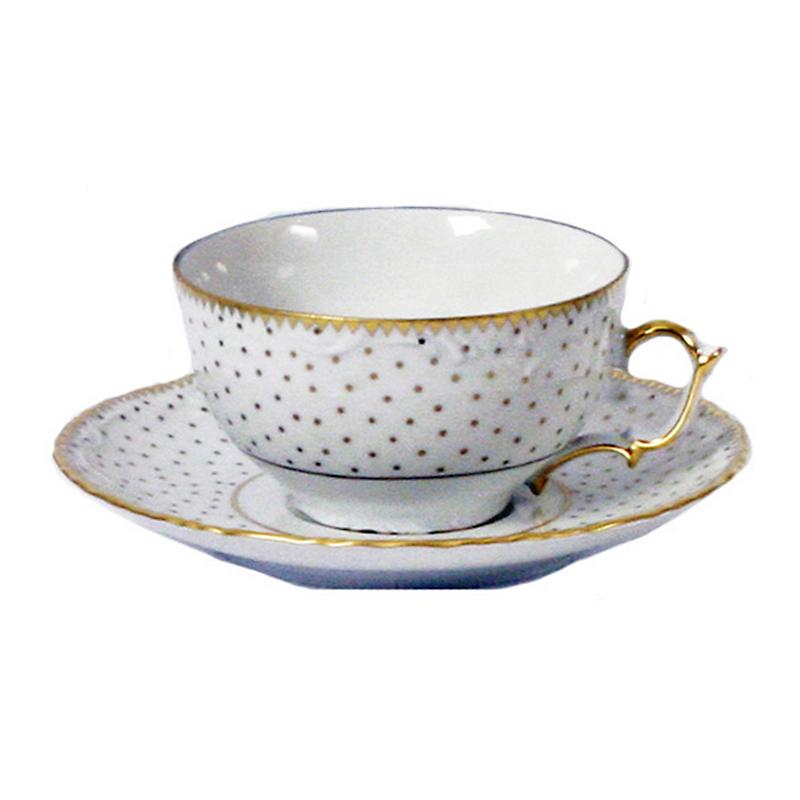 Anna weatherley simply anna polka dot tea cup saucer for Gold polka dot china