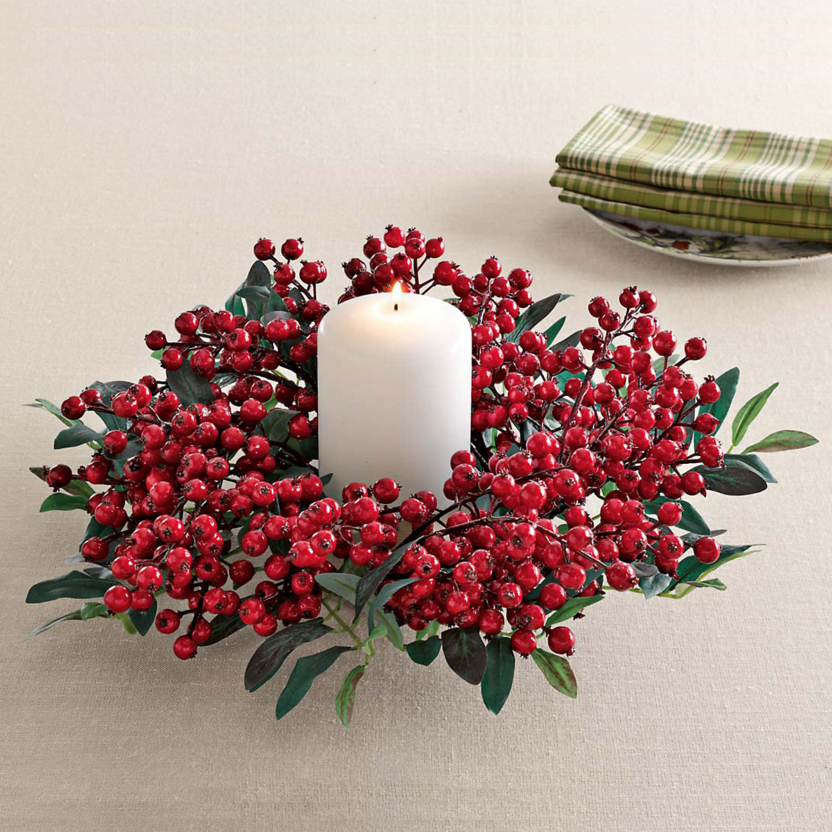 Festive Red Berry Candle Ring