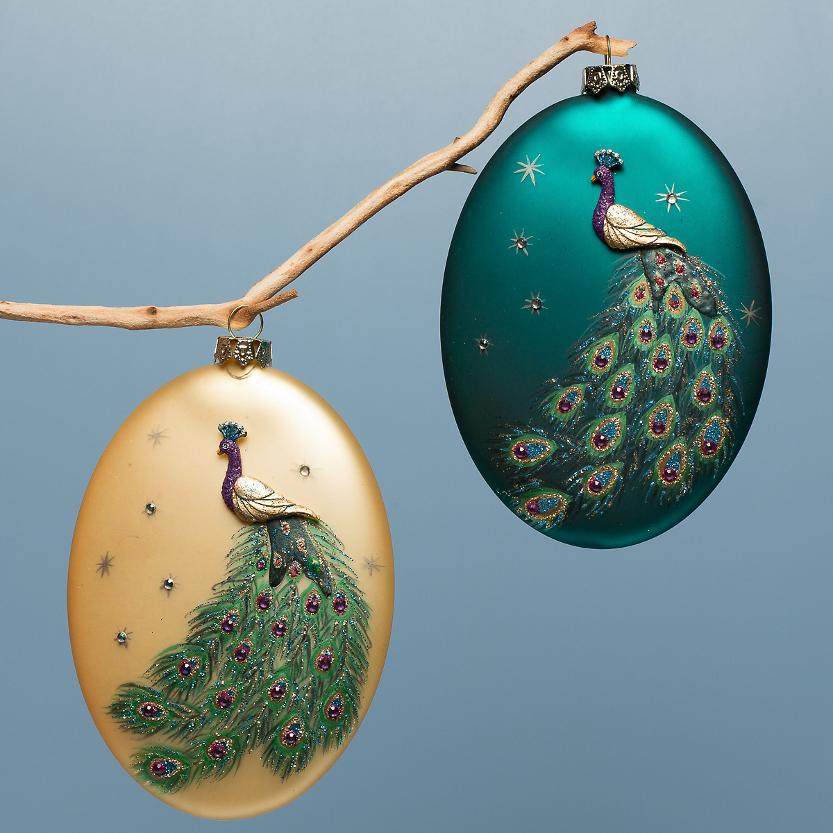 How To Decorate Glass Ornaments For Christmas: Glass Painted Peacock Ornaments, Set Of 2