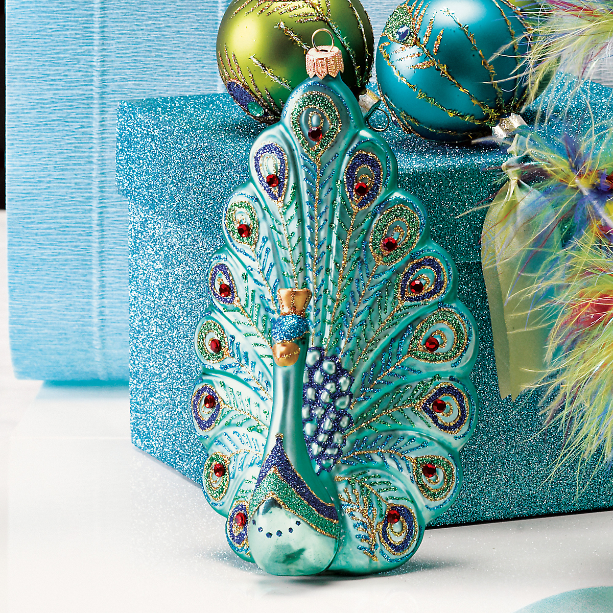 Glass Proud Peacock Ornament