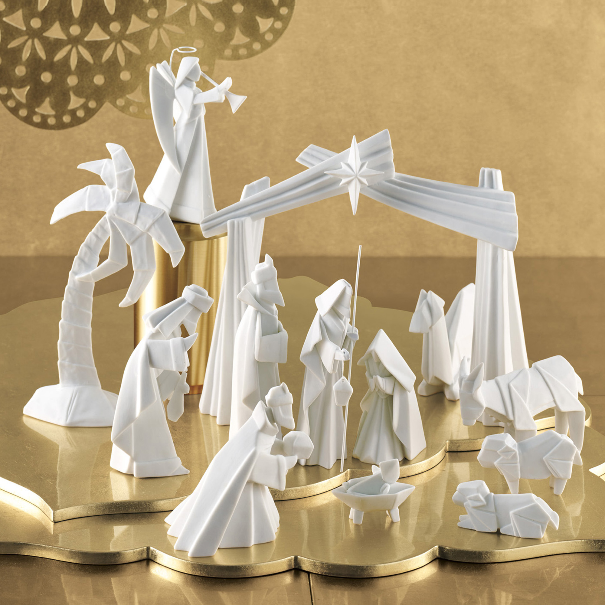 Porcelain Origami Nativity Set