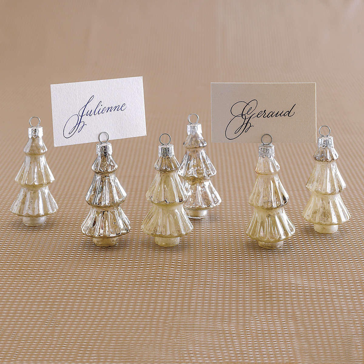 Mercury Glass Tree Placecard Holders