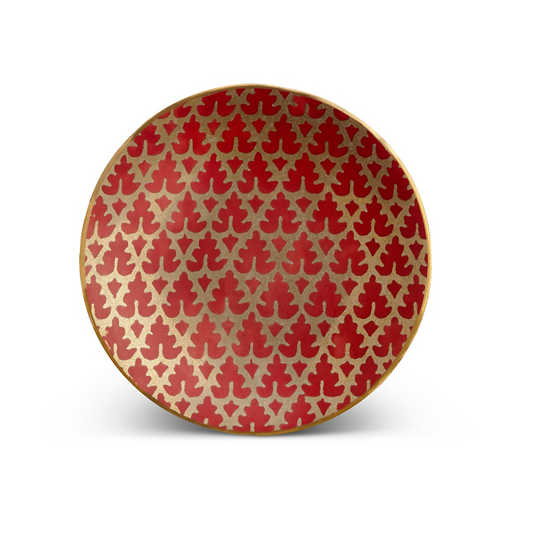 L'Objet Fortuny Murillo Red Canape Plates, Set of 4