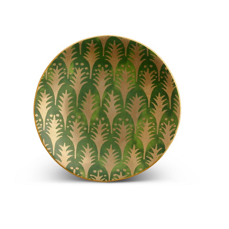 L'Objet Fortuny Piumette Green Canape Plates, Set of 4