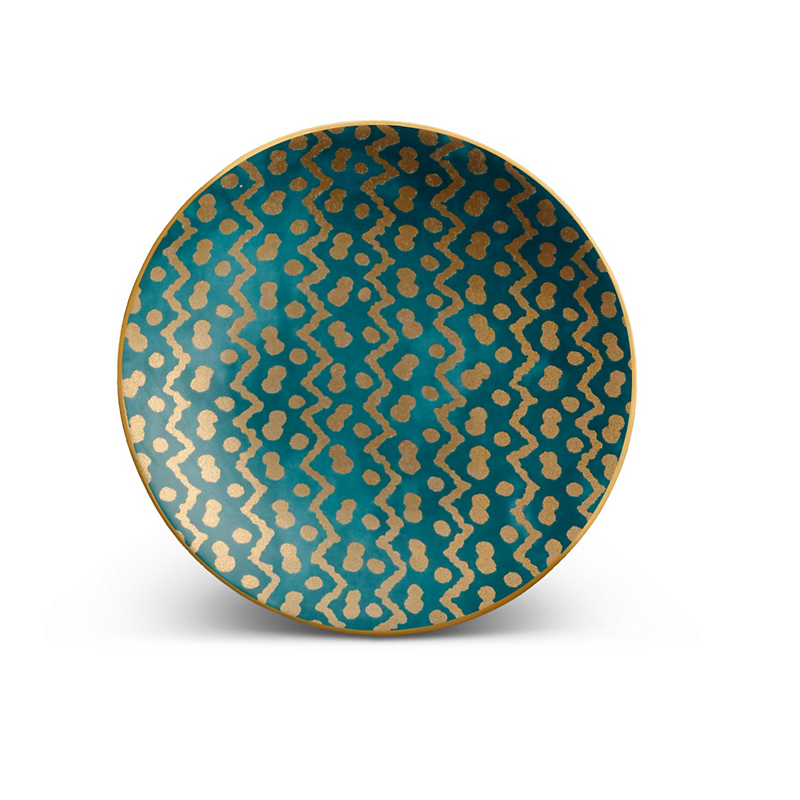 L'Objet Fortuny Tapa Blue Canape Plates, Set of 4