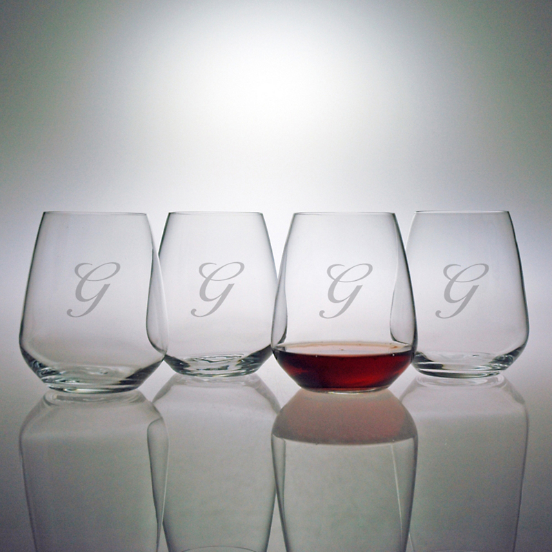 Personalized Stemless Cabernet Wine Glasses, Set of 4