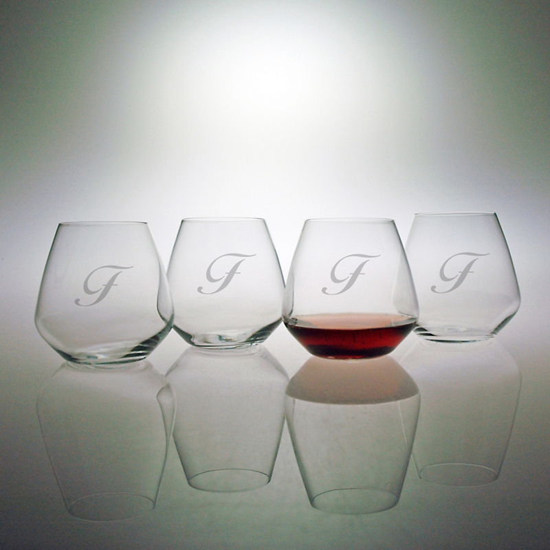 Personalized Stemless Pinot Wine Glasses, Set of 4