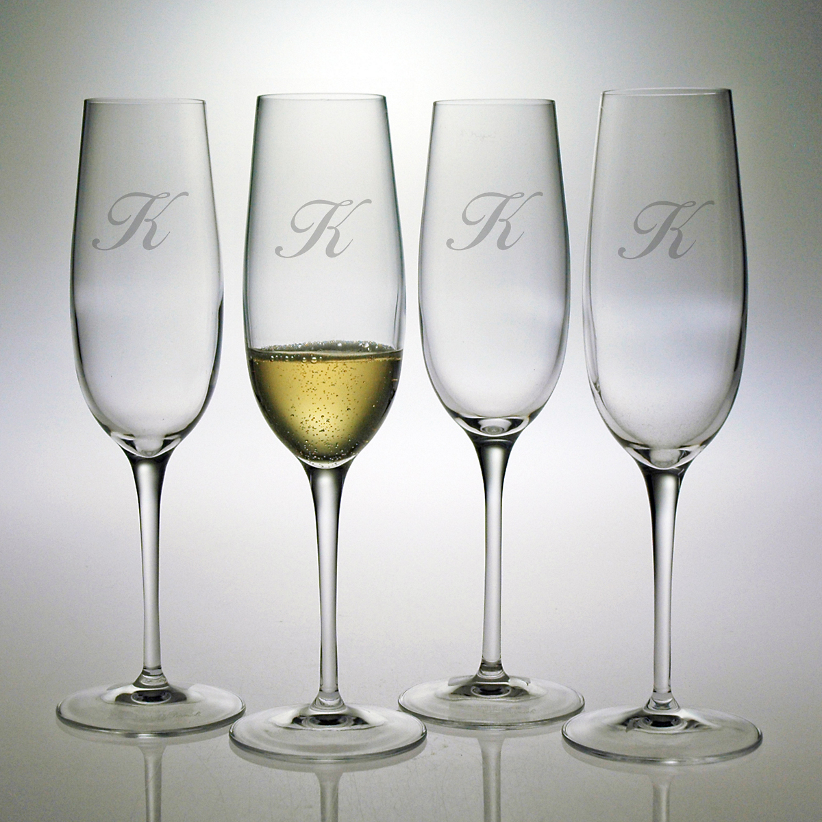 Personalized Champagne Flutes, Set of 4