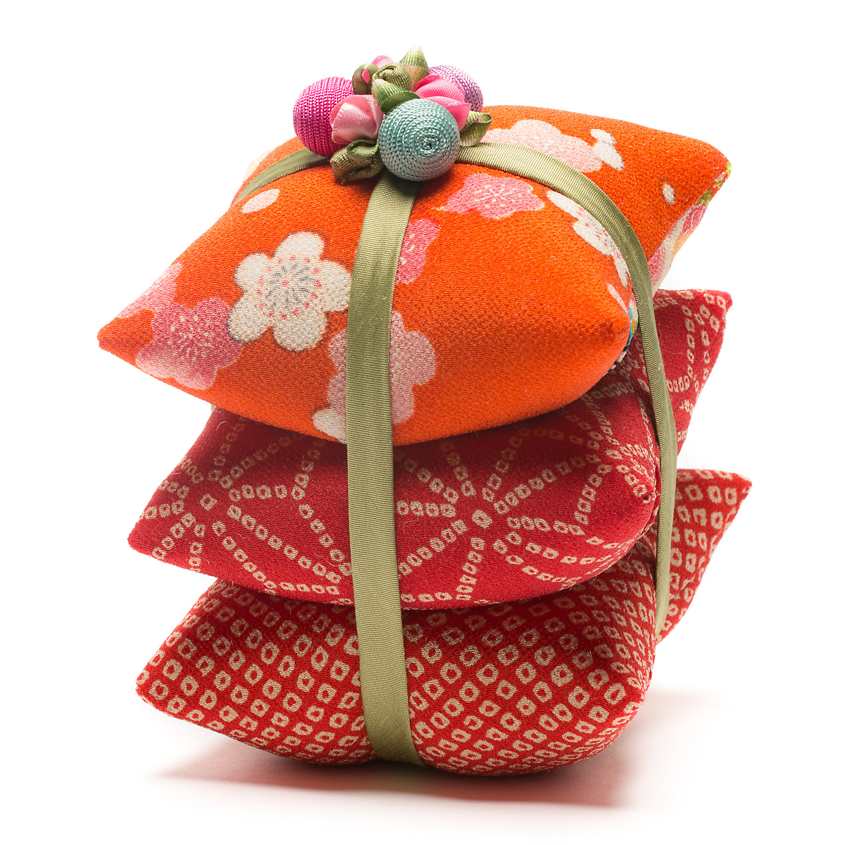 Irene Hirose Japanese Fabric Sachet Triplet, Orange