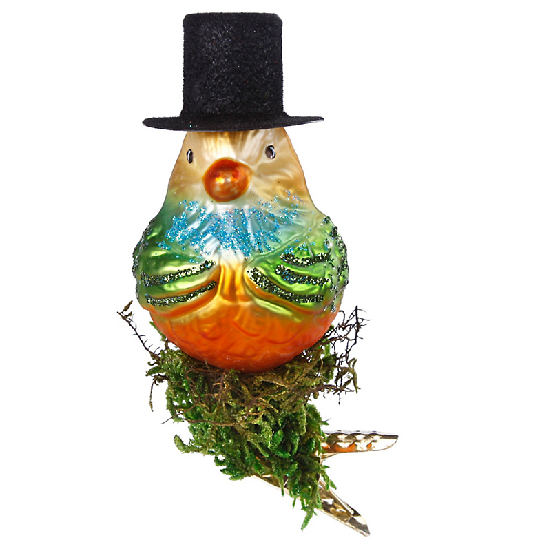 Bird with top hat christmas ornament gump s