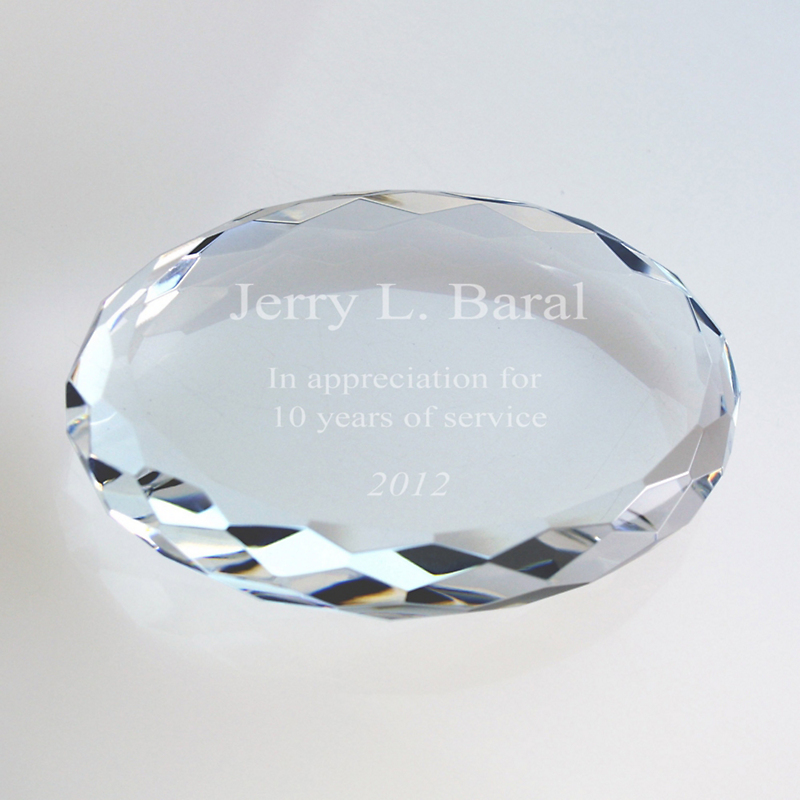 Crystal Oval Faceted Paperweight