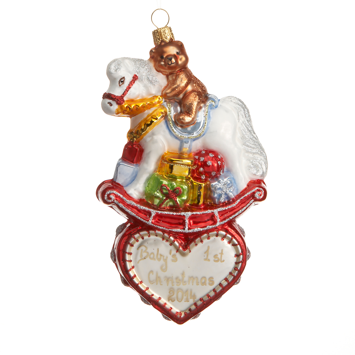 Baby s st christmas rocking horse ornament gump