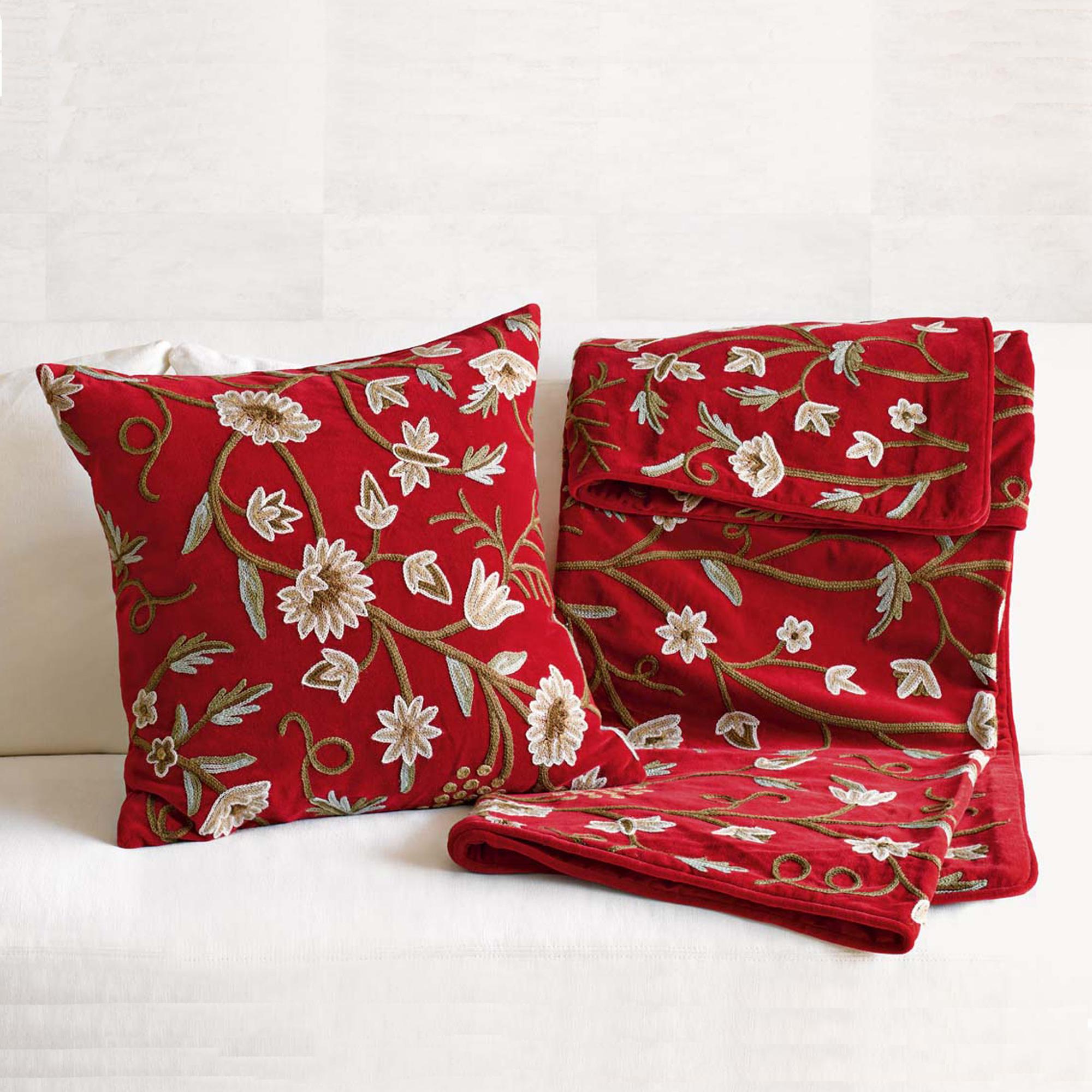 Throw Pillows Home : Chandra Crewel Pillow & Throw Gump s
