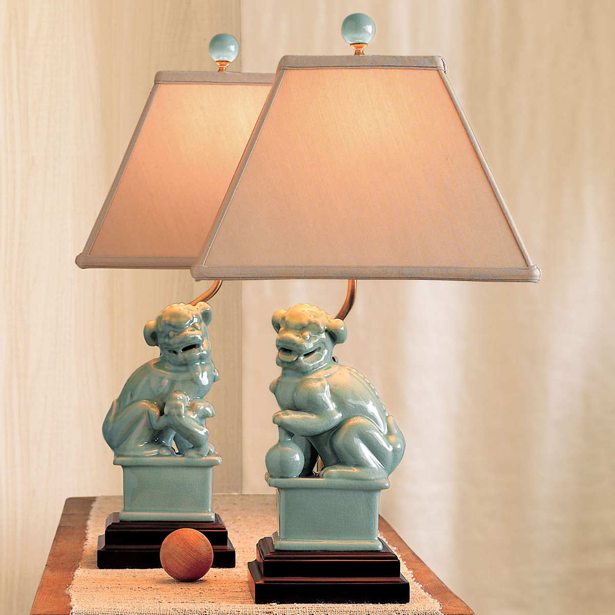 Celadon Foo Dog Lamps