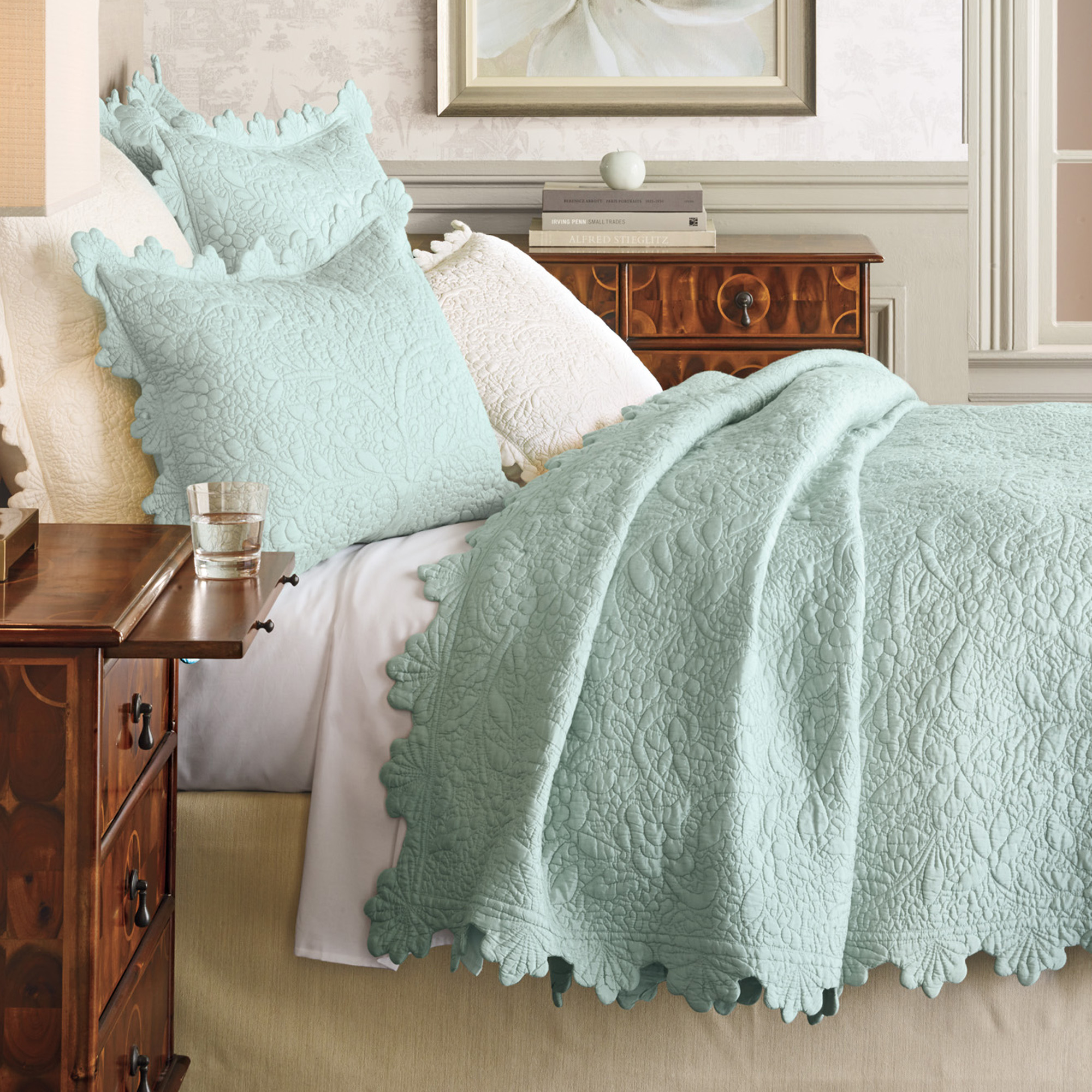 cover scallop duvet stage center edge scalloped embroidered pin and
