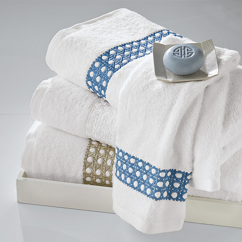 Cane Embroidered White Towels