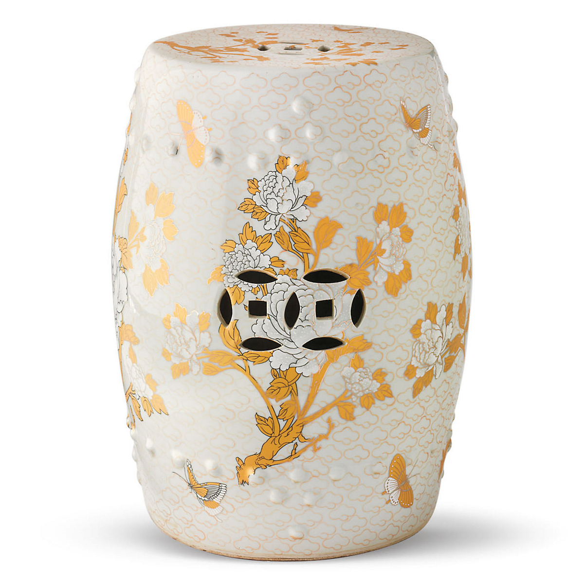 Golden Butterfly Garden Stool