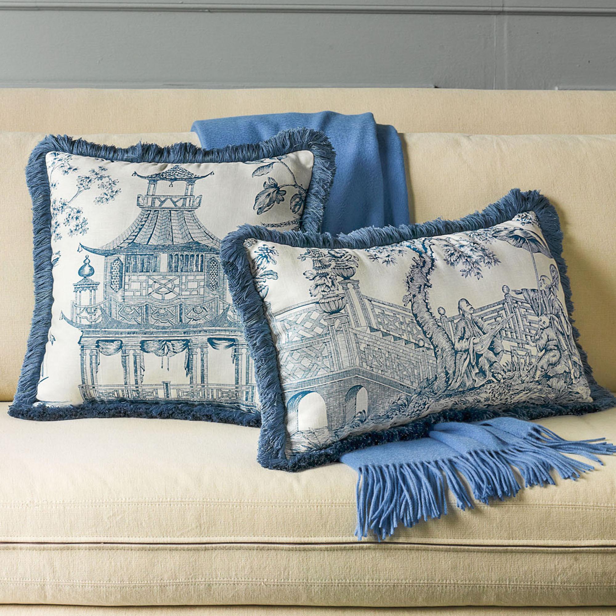 Throw Pillows Home : Linen Chinoiserie Pillows, Blue Gump s