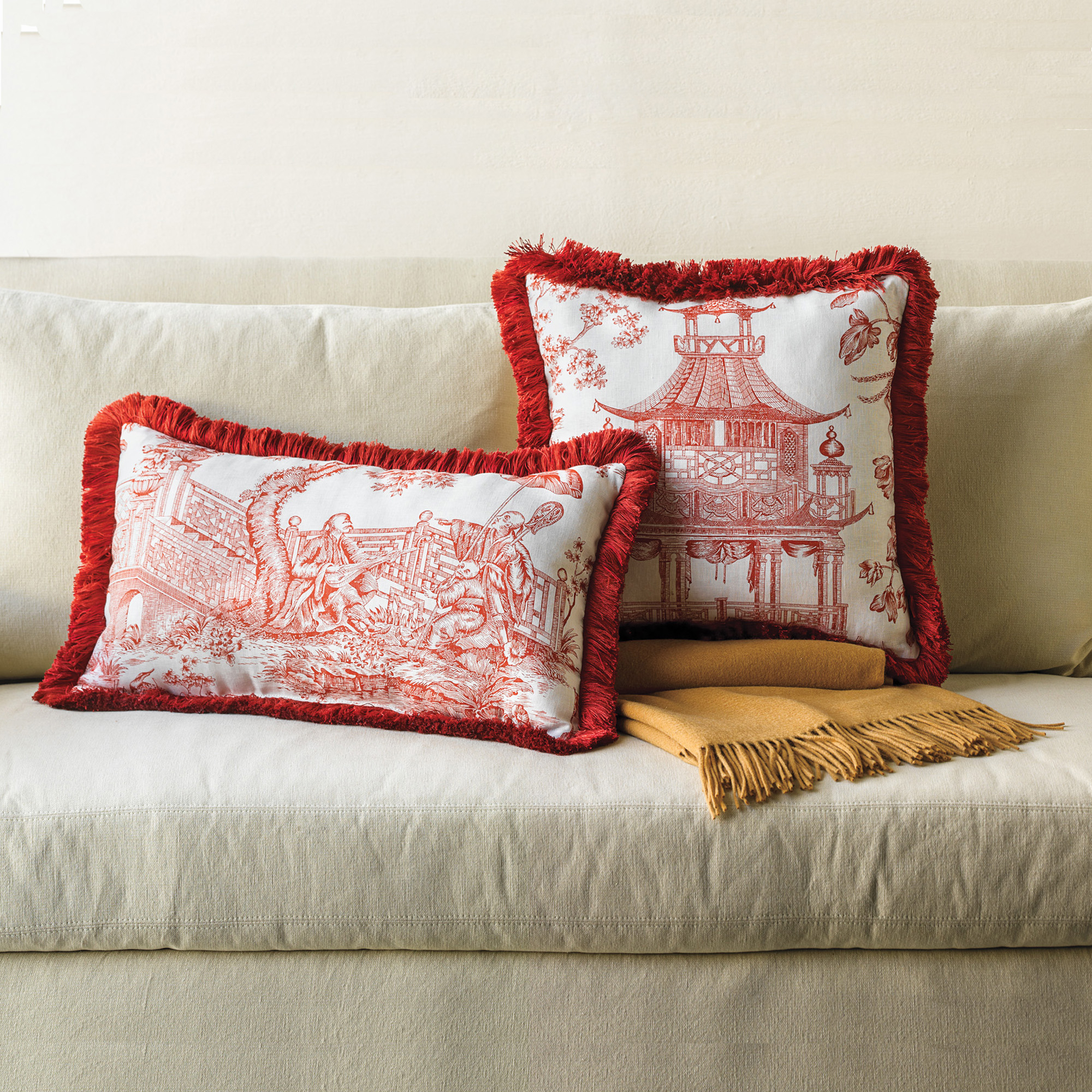 Linen Chinoiserie Pillows, Red
