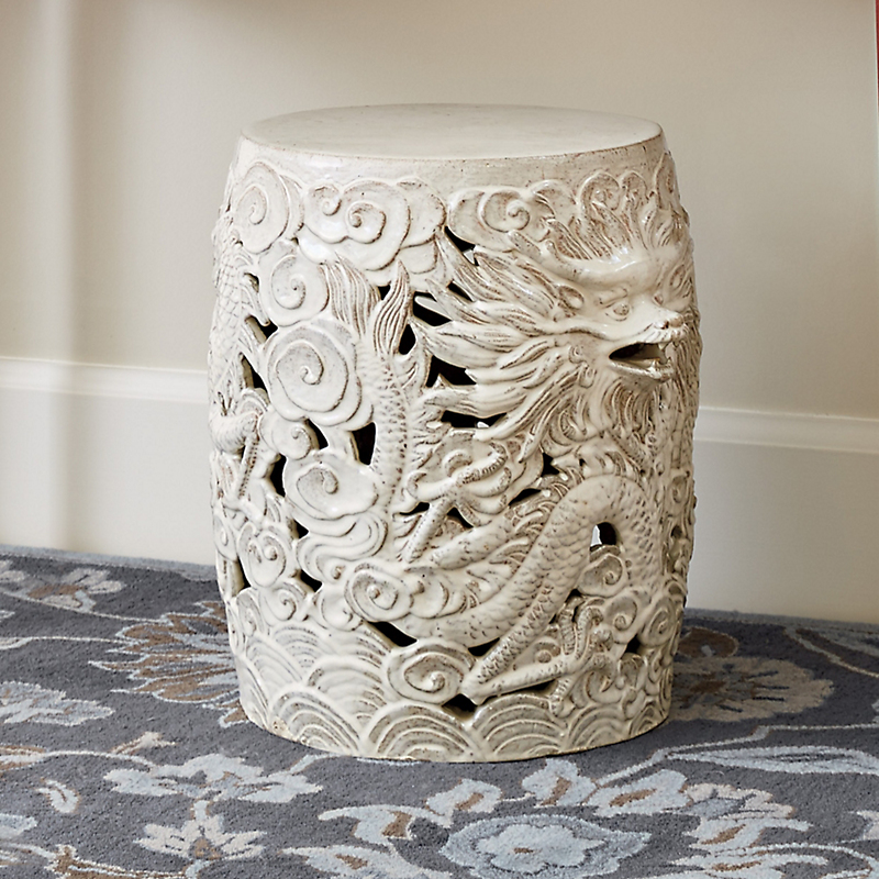 Dragon Garden Stool, White