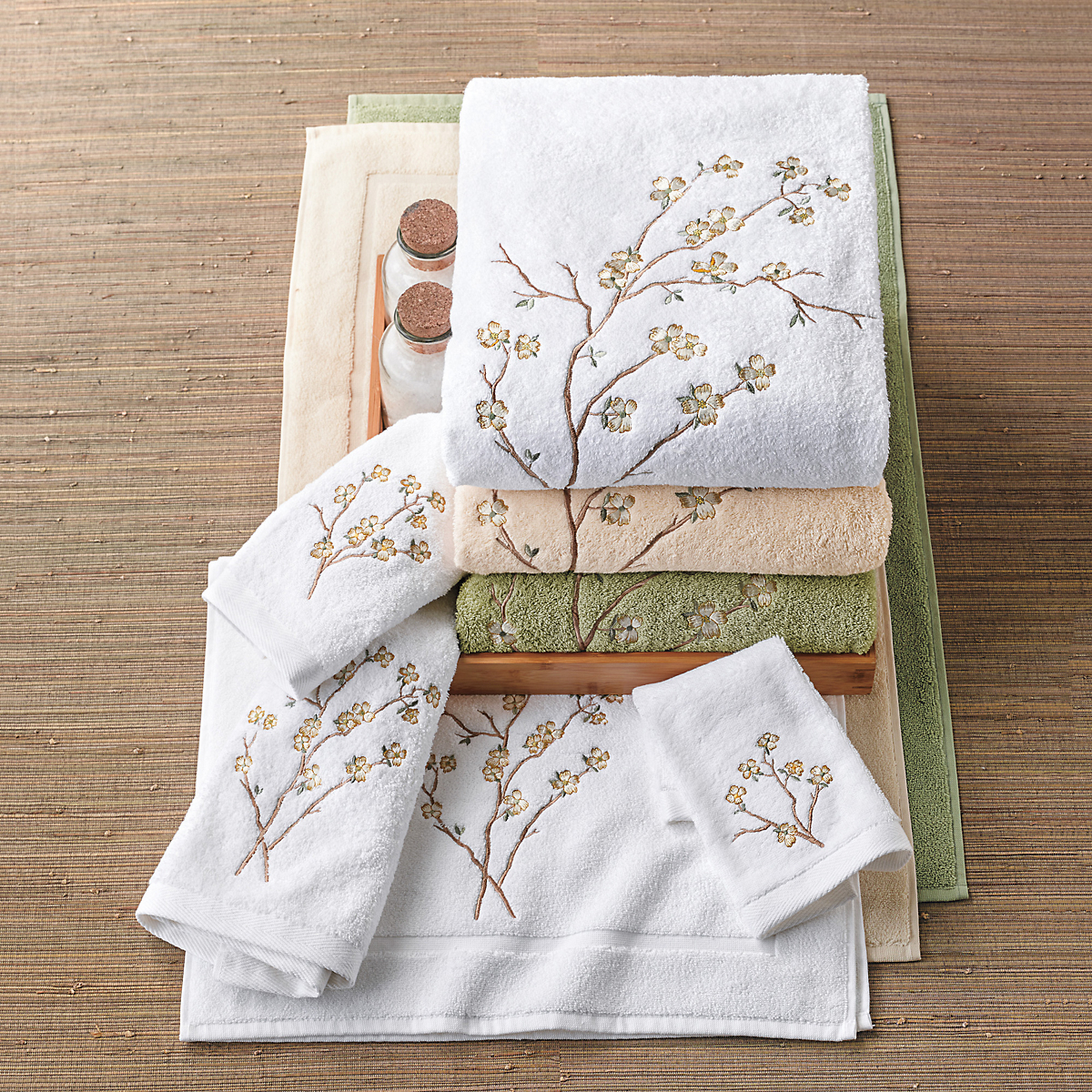 Dogwood Embroidered Towels
