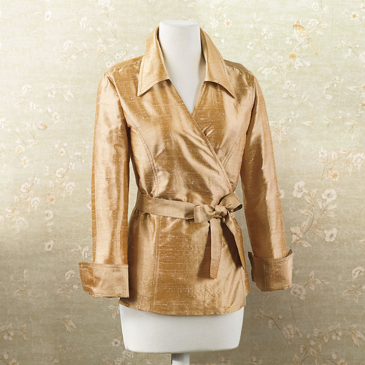 Silk Shantung Wrap Jacket