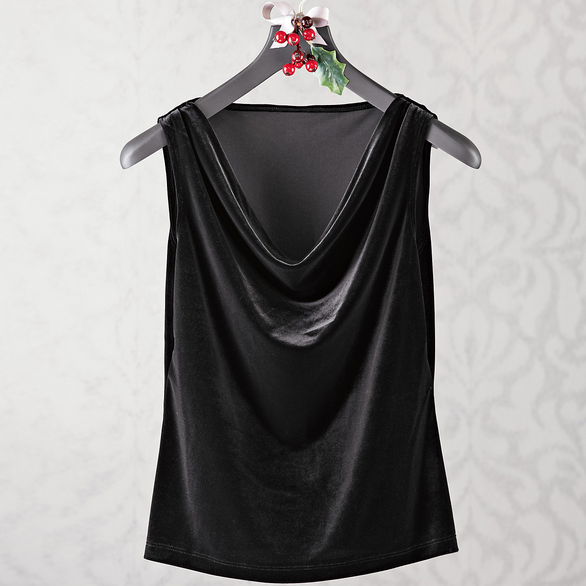 Stretch Velvet Drape Neck Tank