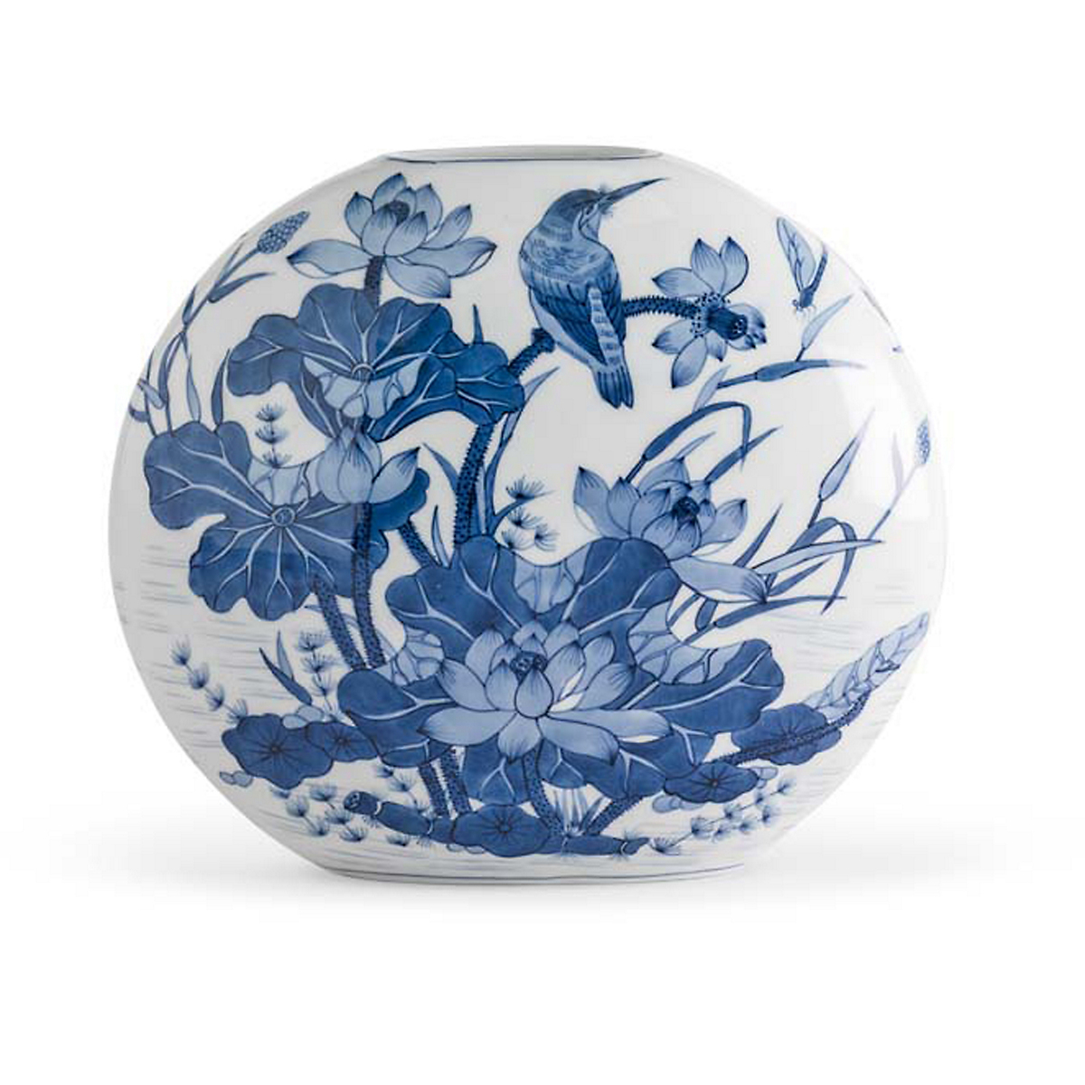 Blue Porcelain Moon Vase