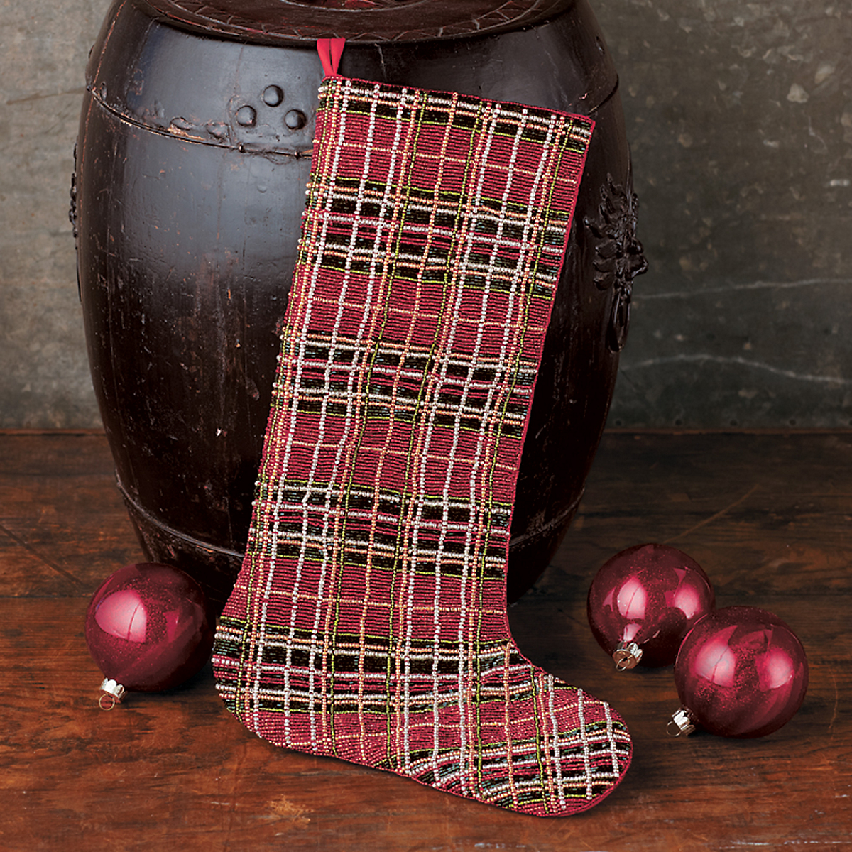 Beaded Plaid Stocking