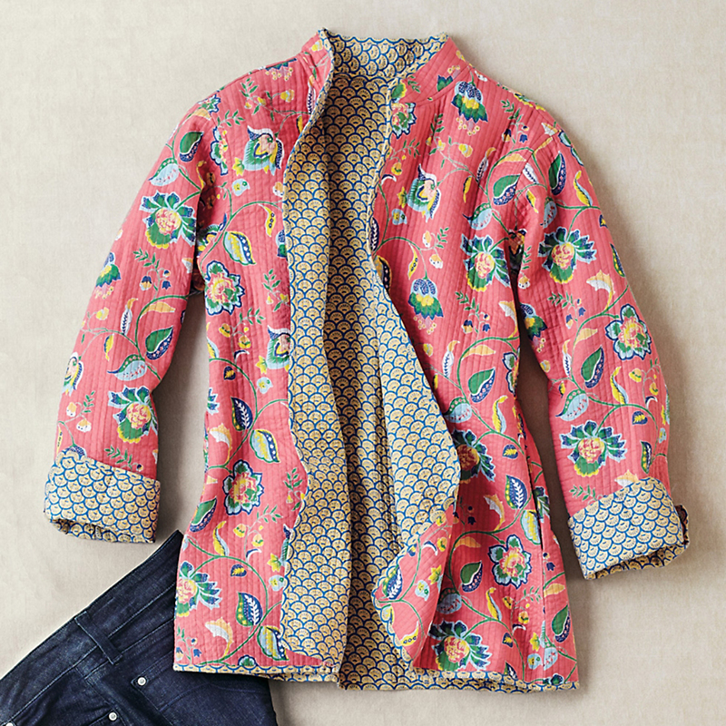 Reversible Quilted Floral Jacket Gump S