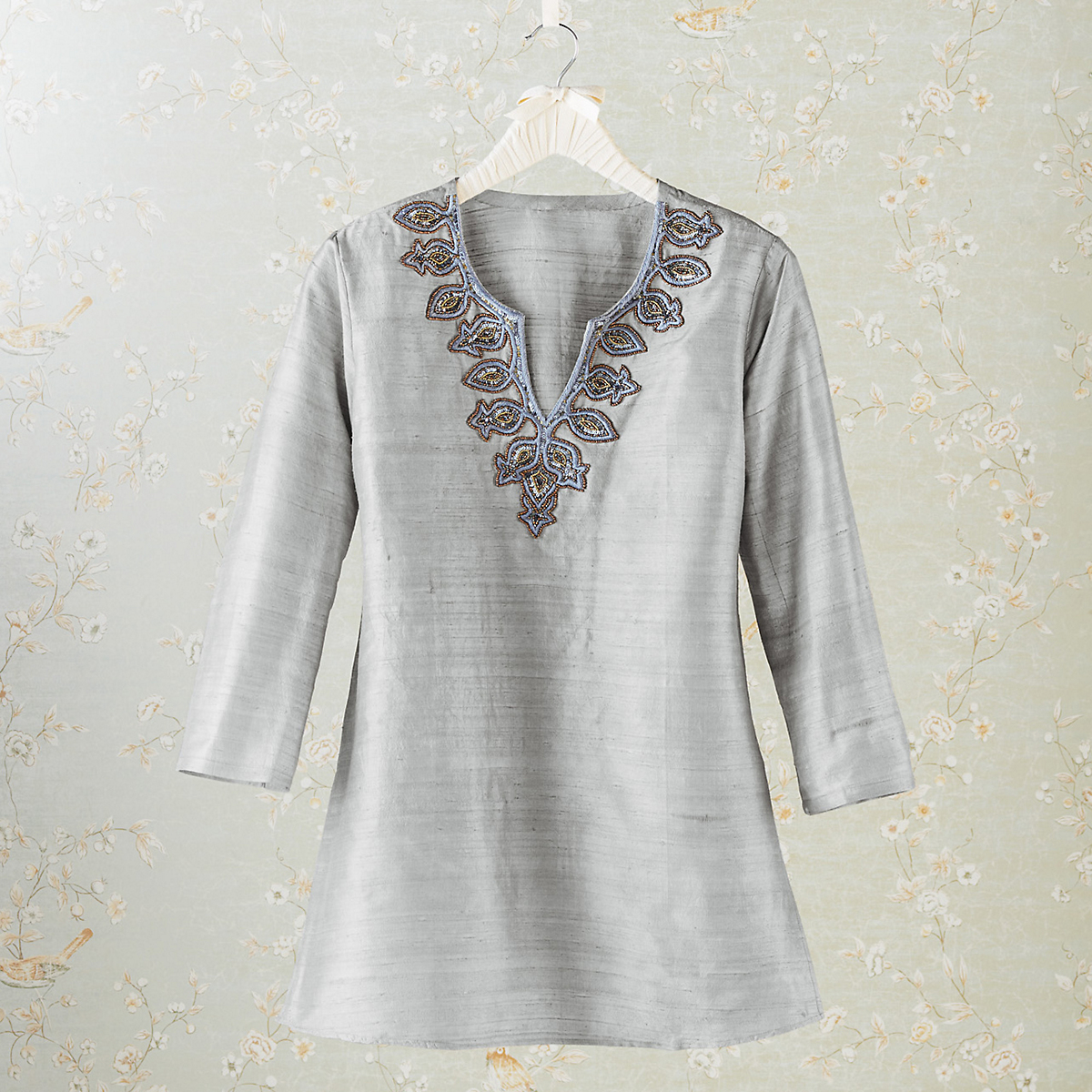 Shimmer Beaded Silk Tunic