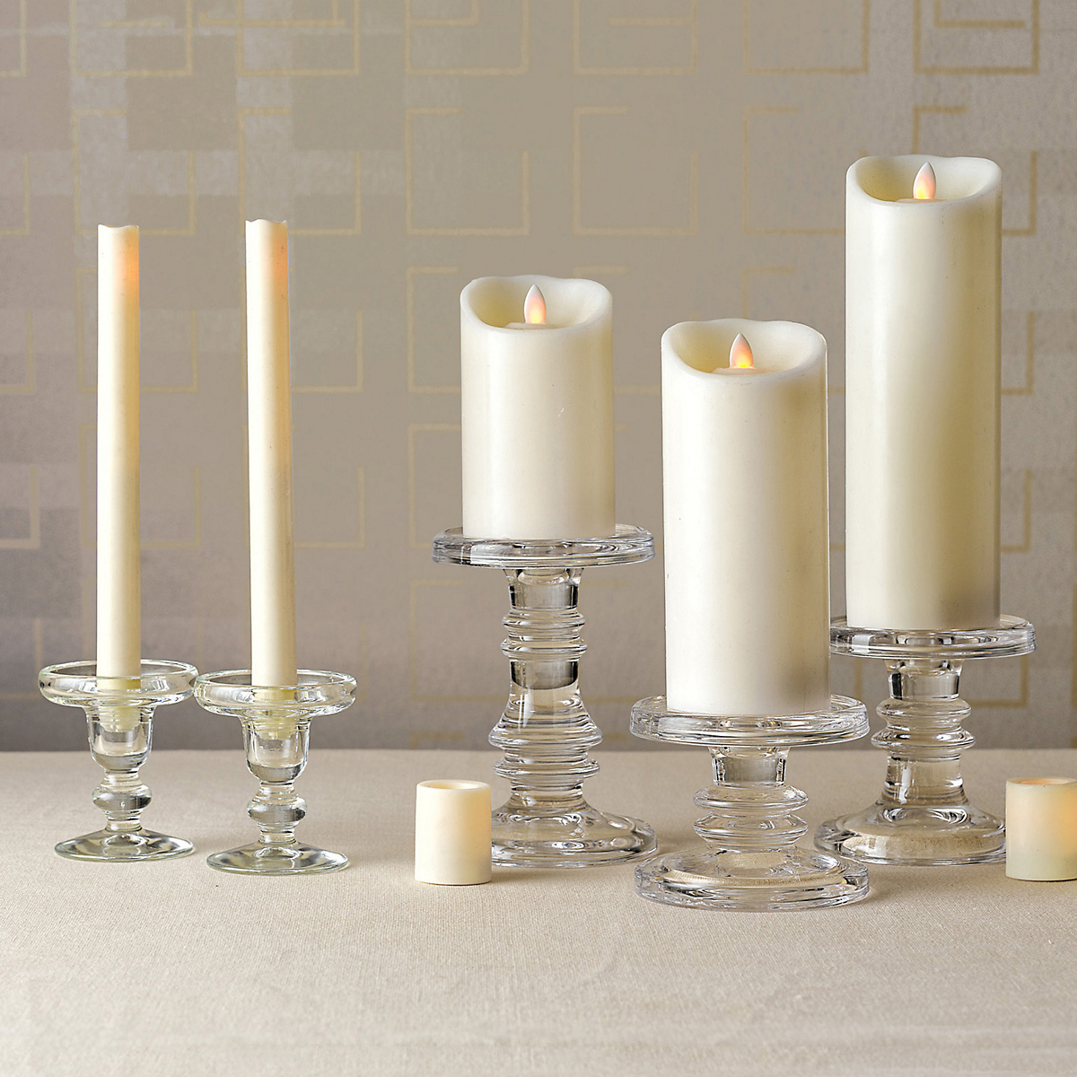 Midnight Clear Glass Candleholders