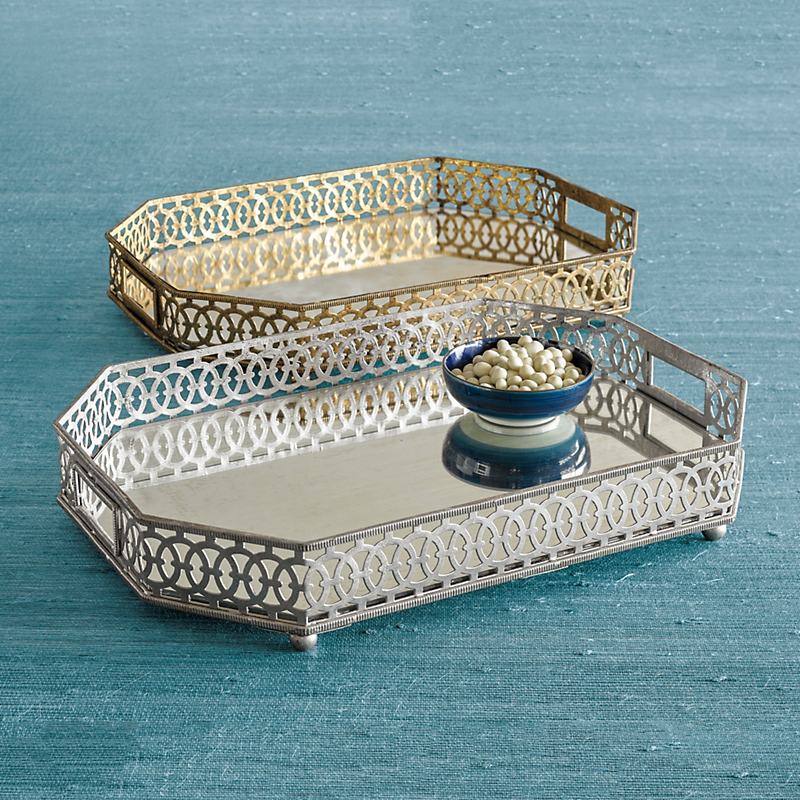 Antiqued Mirrored Trays