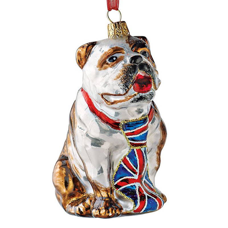 British Pup Christmas Ornament