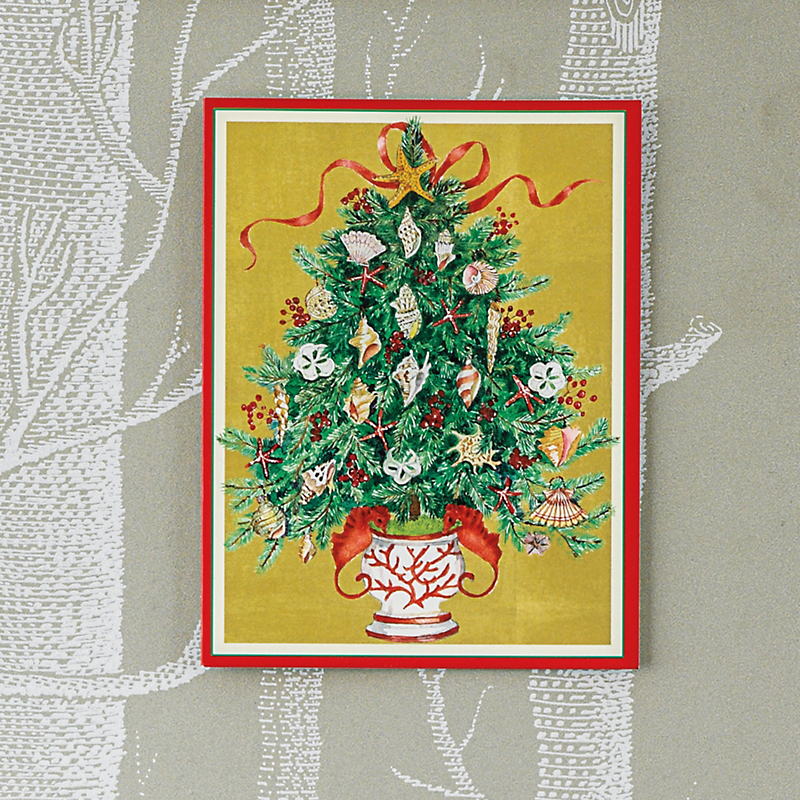 Caspari Personalized Seashell Tree Cards