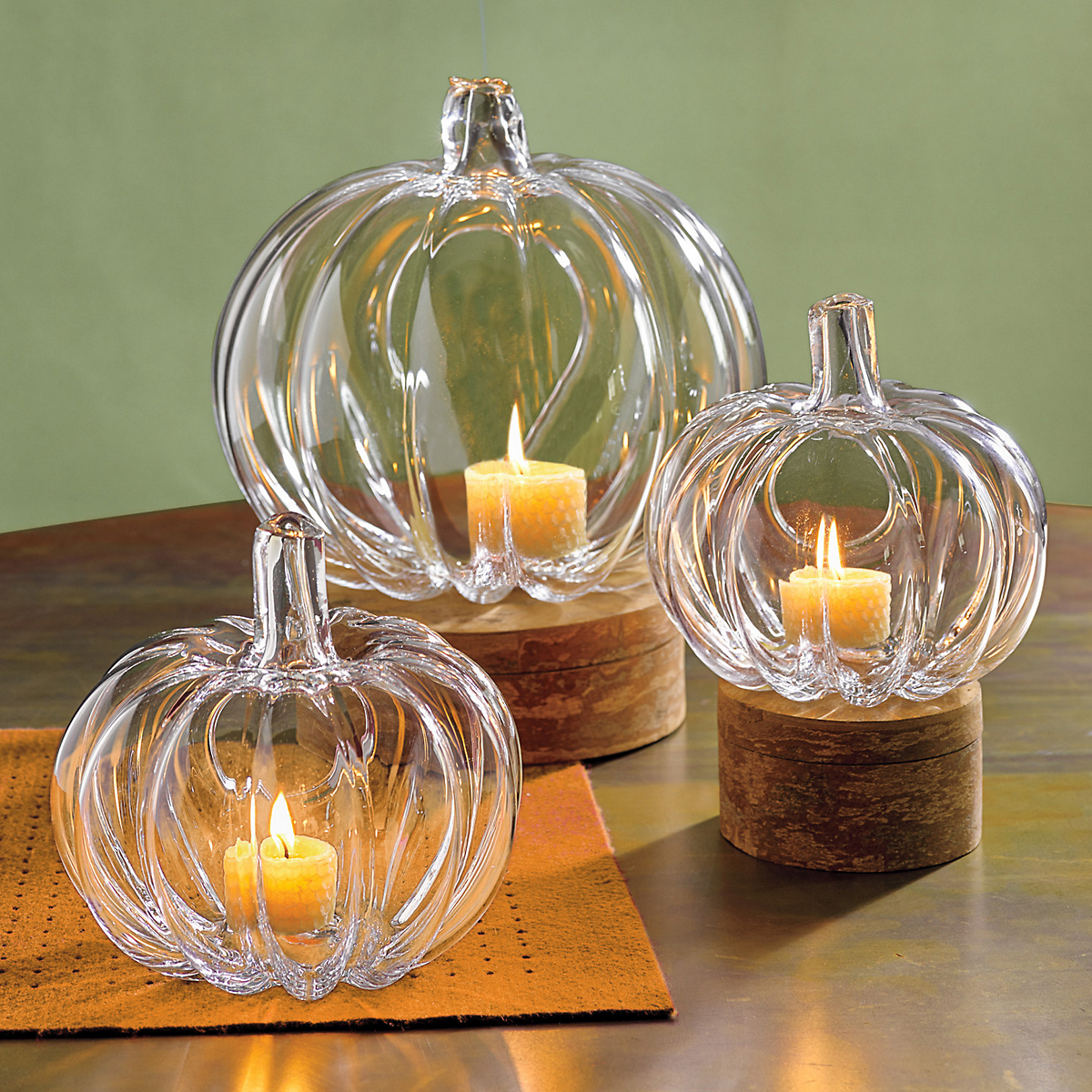 Glass Pumpkin Candleholders